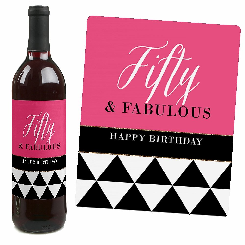 Amazon.com | Chic 50th Birthday - Pink, Black and Gold - Wine Bottle ...