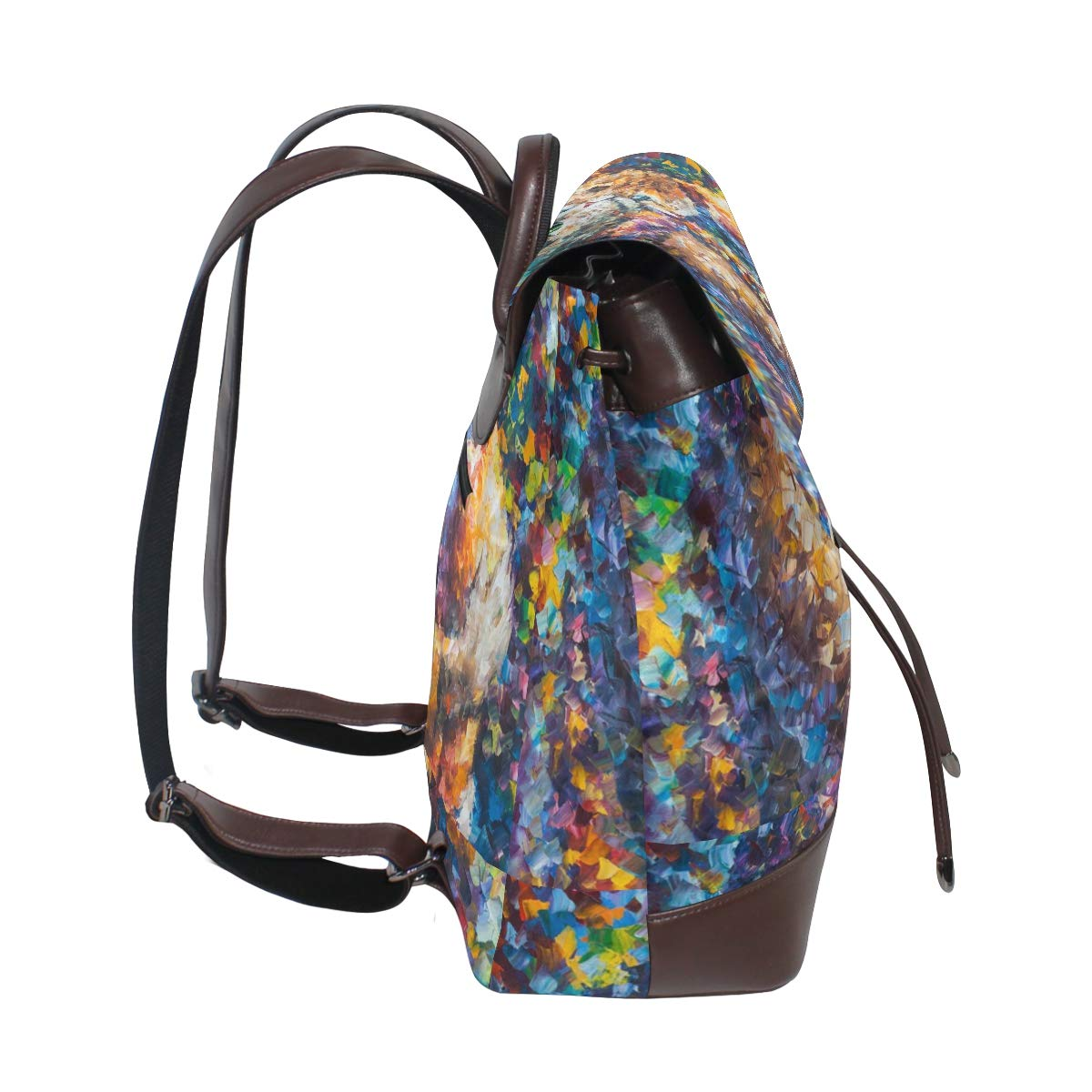 PU Leather Shoulder Bag,Couple Of Colorful Cats Backpack,Portable Travel School Rucksack,Satchel with Top Handle