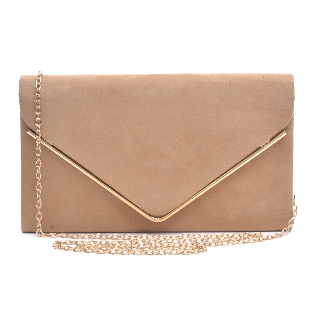 Dasein Ladies' Velvet Evening Clutch Handbag Formal Party Clutch For Women With Chain Strap (Camel)