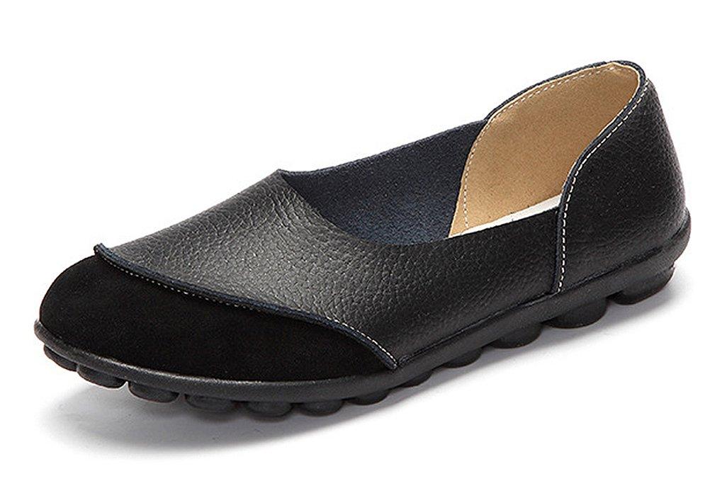 CCZZ Moccasin Femme Bateau Cuir Loafers Casuel Bateau Chaussures Moccasin Chaussures de Flats Noir-1 661ae43 - avtodorozhniks.space