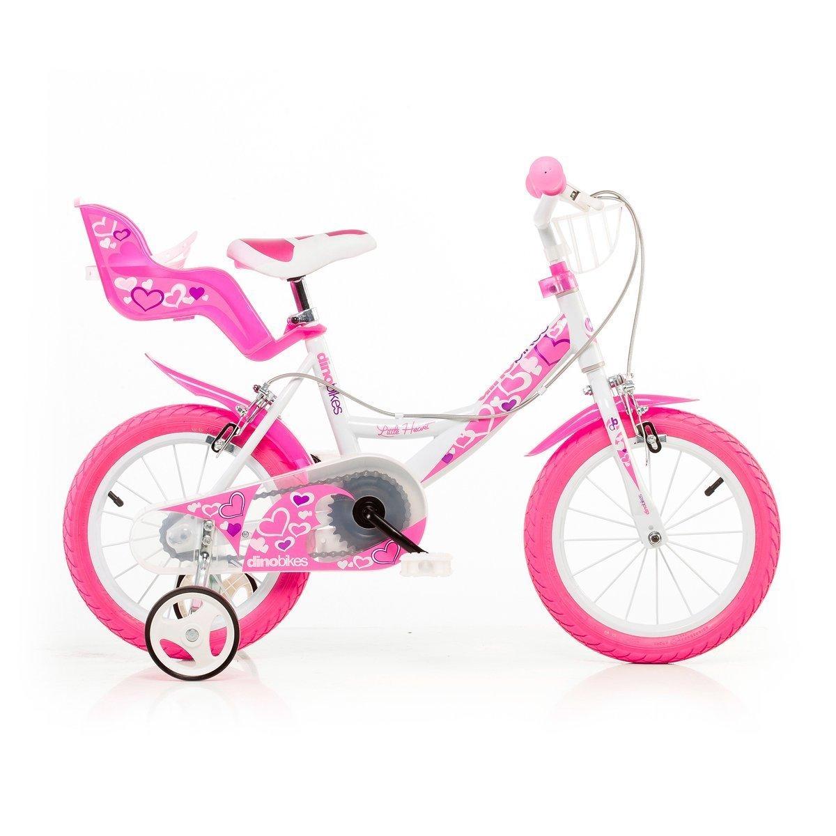 Bicicleta Dino Bikes Little Heart 16 Ni/ñas Completo 16 Metal Rosa Hacia un lado, Completo, 40,6 cm 16 Color blanco bicicletta , Metal, Rosa, Blanco, Cadena