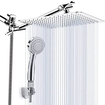 Kaqinu Shower Head 8 High Pressure Rainfall Shower Head Handheld Showerhead Combo With 11 Extension Arm Anti Leak Shower Head With Holder Hose Flow Regulator Chrome Amazon Com