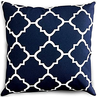 Utopia Bedding Decorative Square 18 x 18 Inch Throw Pillow - Navy & White Moroccan Quatrefoil Lattice Cushion Pillow - Package includes an 18 by 18 inches pillow with navy and white quatrefoil pillow cover Moroccan-inspired pattern with a sophisticated color palette brings style to your outdoor setting Spun polyester exterior fabric and 100 percent polyester interior fiberfill dries easily; comes with a regular zipper, without piping - patio, outdoor-throw-pillows, outdoor-decor - 61RwiikDfYL. SS400  -
