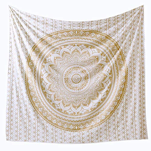 - Popular Handicrafts Th566 Twin Original Gold Ombre Tapestry Indian Mandala Wall Art, Hippie Tapestry Wall Hangings, Bohemian Bedspread with Metallic Shine (215x140) cms