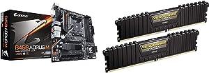 Gigabyte B450 AORUS M (AMD Ryzen AM4/M.2 Thermal Guard/HDMI/DVI/USB 3.1 Gen 2/DDR4/Micro ATX/Motherboard) & Corsair Vengeance LPX 16GB (2x8GB) DDR4 DRAM 3000MHz C15 Desktop Memory Kit - Black