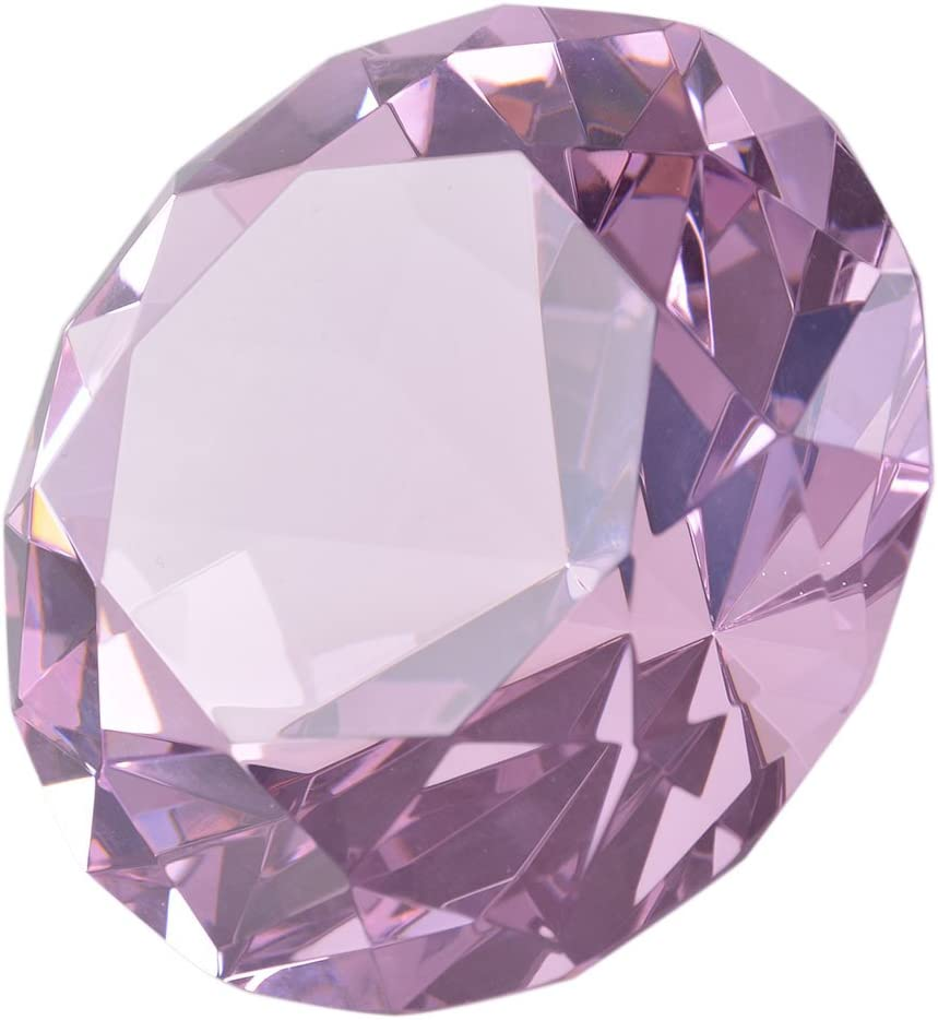 LONGWIN 80mm (3.1 inch) Crystal Diamond Paperweight Jewels Wedding Decorations Centerpieces Home Decor (Pink)