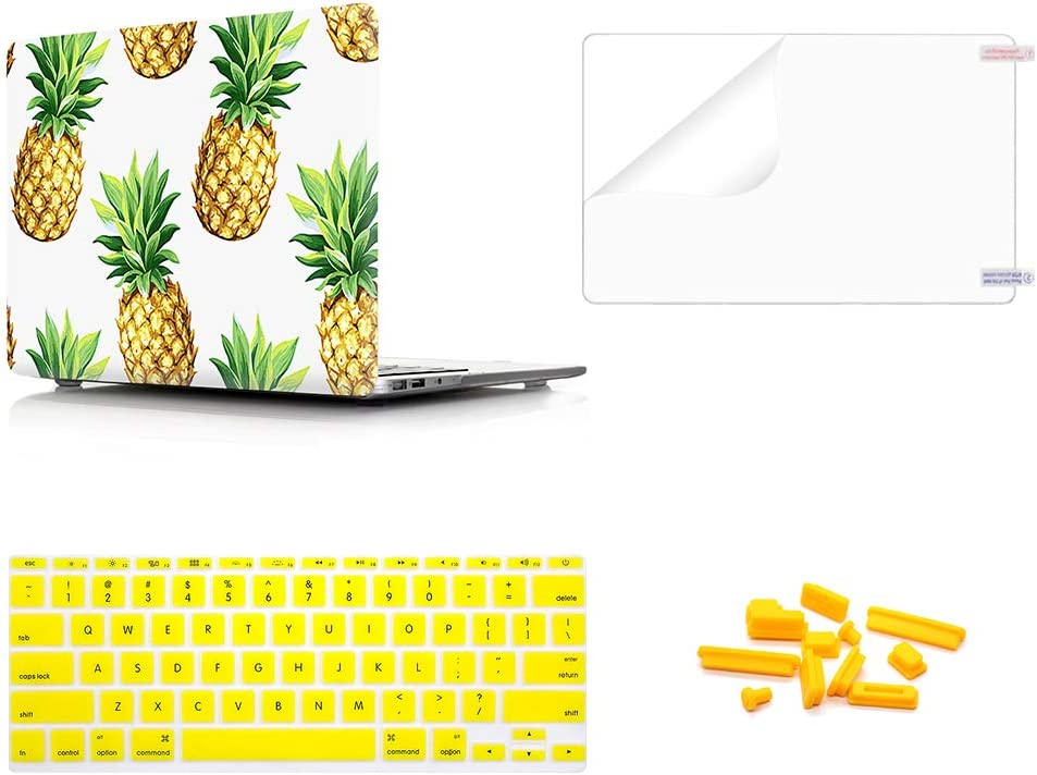 WYGCH 4 in 1 Fresh Pineapple Plastic PC Hard Case Shell+ Keyboard Cover+ Screen Protector+ Dustproof Plug Compatible MacBook Air 11.6