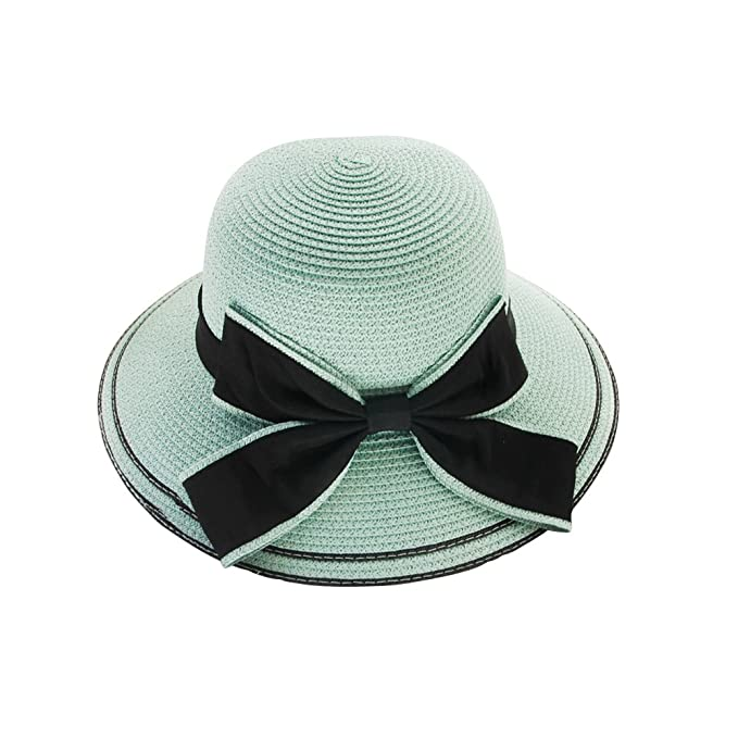 234c673eb59 Layboo Pretty Vintage Foldable Straw Beach Sunhat Floppy Hat for Women Brim  Bowknot UV Protection Wide