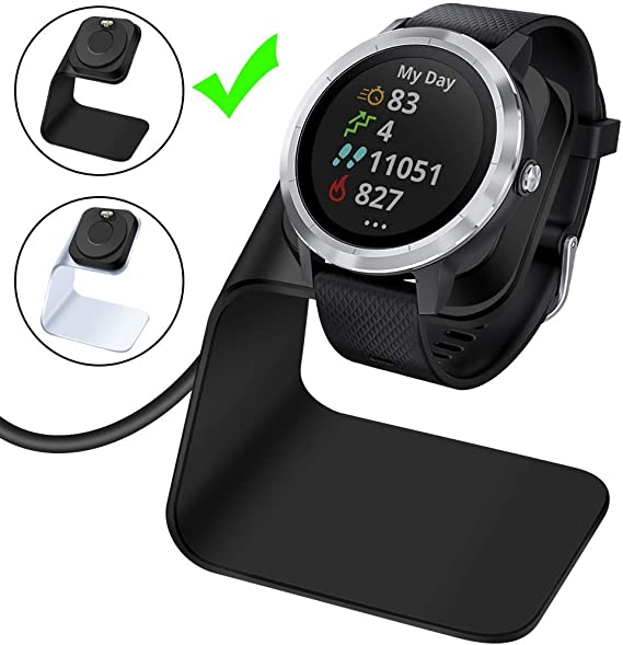 EZCO Charger Dock Compatible with Garmin Vivoactive 3 / Vivoactive 3 Music, Premium Aluminm Charging Cable Stand Base Station USB Date Syn for Fenix 5 ...
