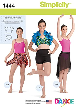 Amazon.com: Simplicity Creative Patterns 1444 Misses\' Knit Dancewear ...