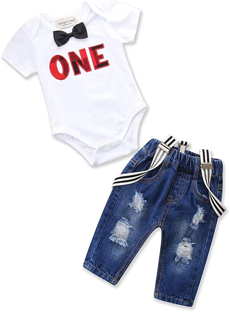 Toddler Infant Kid Baby Girl Top Romper Bodysuit Ripped Pants Outfit Clothes Set