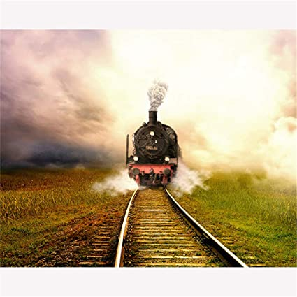 Amazon com: DIY Oil Painting, Paint by Number Kits -Steam Train