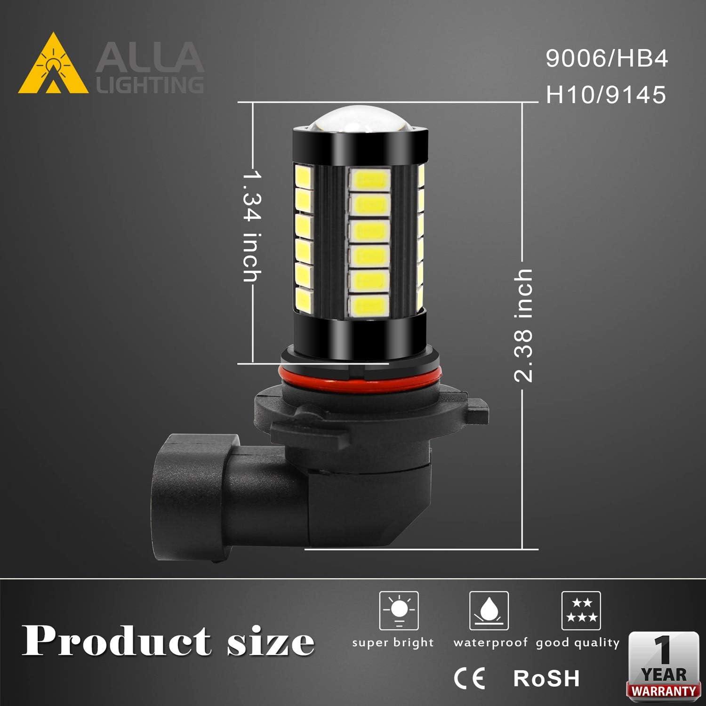 Bulbs 6000K Xenon White Alla Lighting 9006 LED Fog Light Bulbs ...
