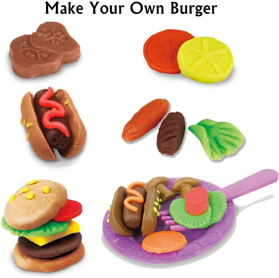 Dear Deer Play Dough Kitchen Creations Burger Maker Playset Molding Play Dough Set with Dough and Molds for Kids 19 Pieces