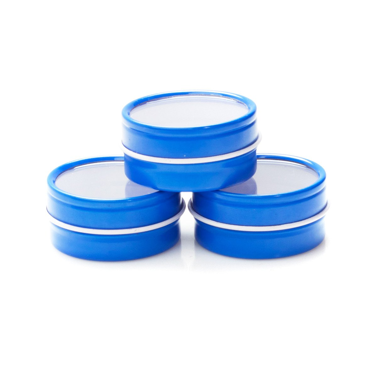 Mimi Pack 6 oz Shallow Round Clear Window Top Blue Metal Tins For Salves, Favors, Spices, Balms, Candles, Gifts 24 Pack