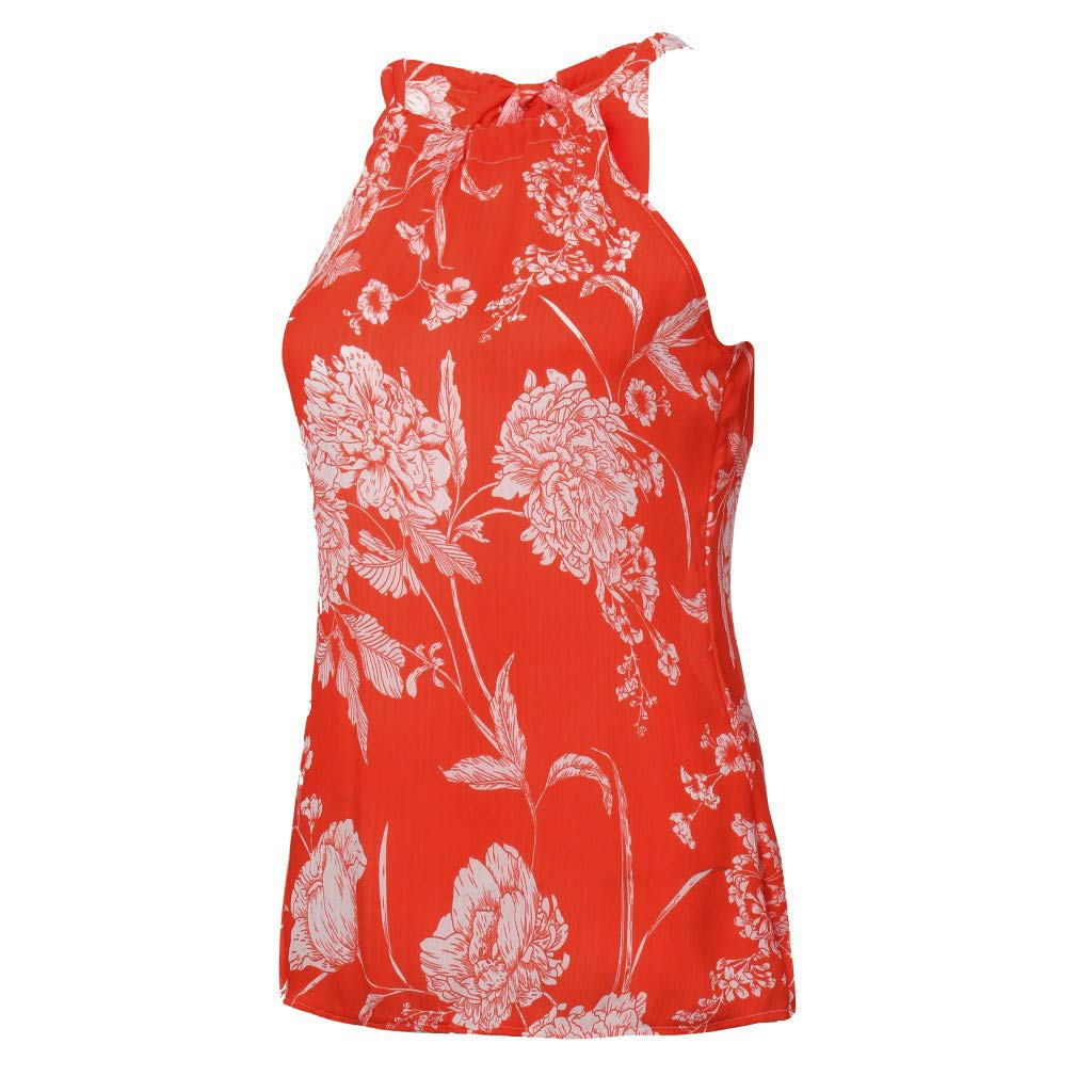 OTINICE Women Sleeveless Halter Strappy Floral Dress Summer Casual Mini Dress Sundress (XL, Z-Orange) by OTINICE (Image #3)