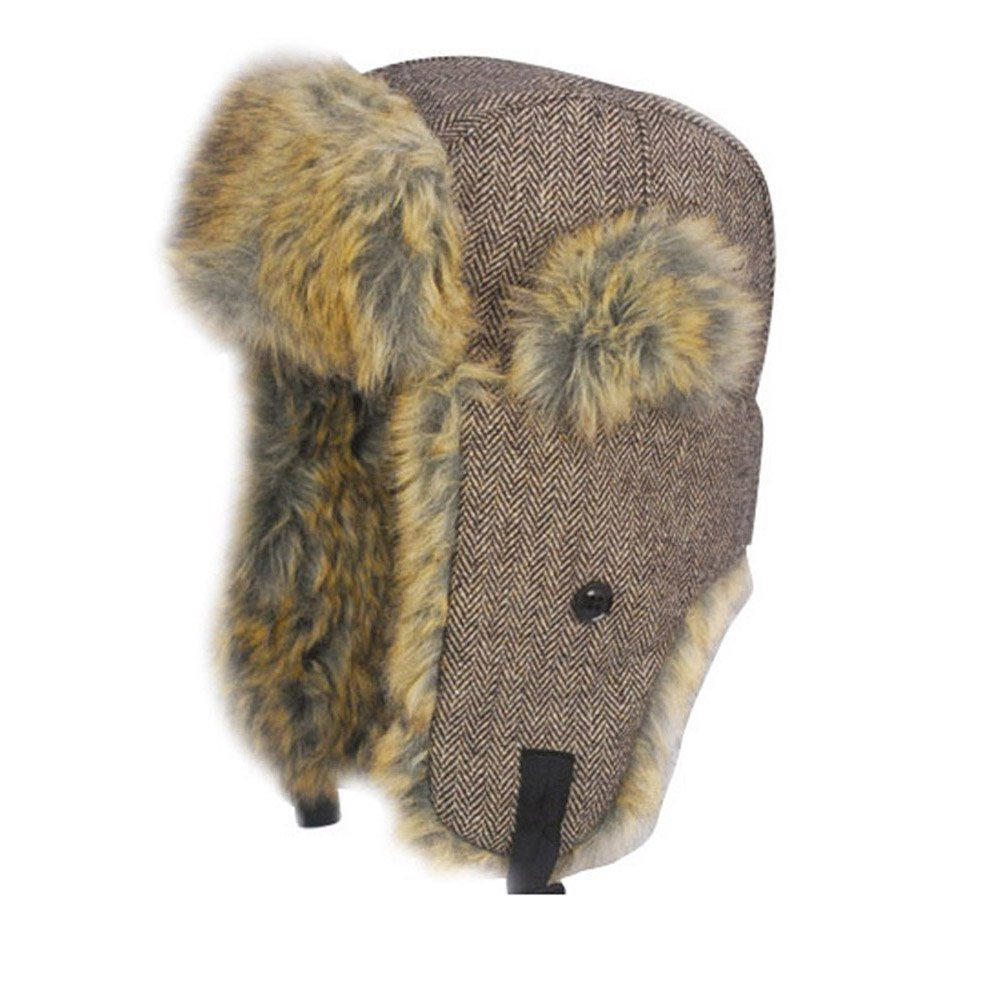 Brown 58cm Herringbone Trapper Hat with Faux Fur Trim