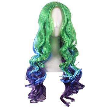 Mujeres pelucas de animación de moda Cosplay verde azul degradado en la larga sección de la