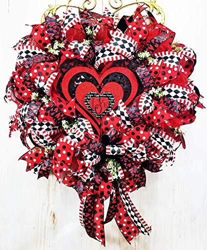 Handmade Red Black White Valentines Day Wreath, Glittered Deco Mesh Heart Door Hanger ()