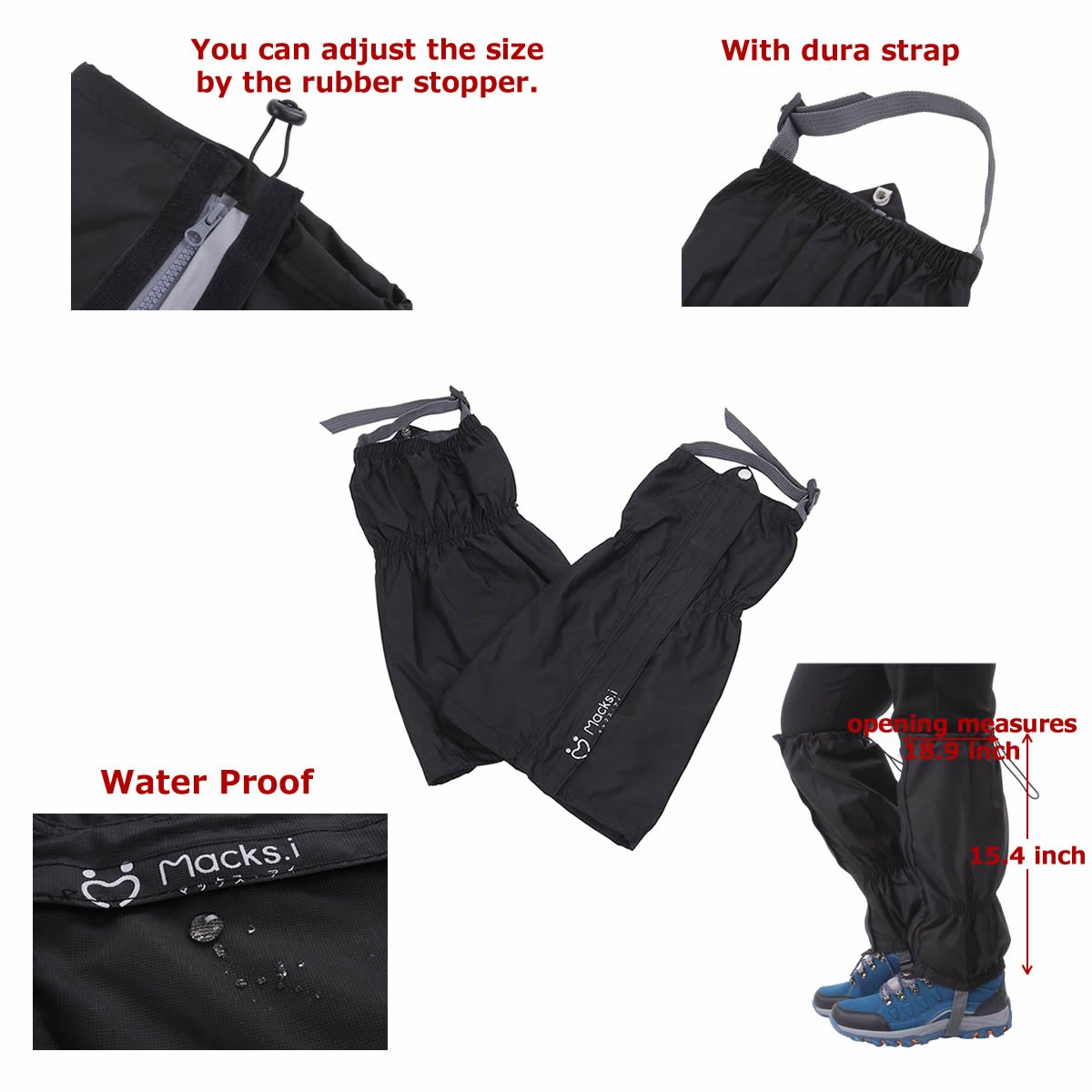 Macks.i Outdoor Unisex Waterproof Camping Hiking Gaiters High Leg Cover 1pair with a Free Shoe Bag by Macks.i (Image #3)