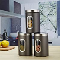 3Pc Food Storage Can Canister Set with Airtight Lid,Glass Window Stainless Steel,Transparent Sealed Food Containers cans…