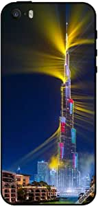 حافظة لهاتف آيفون SE - أعلام دولة غولد على برج خليفة