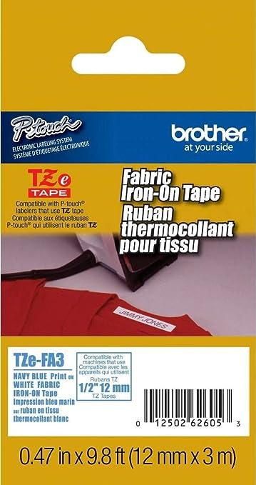 Pack de 3 Exsun Compatible Etiquetas Reemplazo para Brother Cinta Textil Tze-FA3 Azul sobre Blanco 12mm x 3m para Brother PT 1000 H101C H107 H110 H105 P750W E100 1005 1280 P750W E100 H200 P300BT Cube