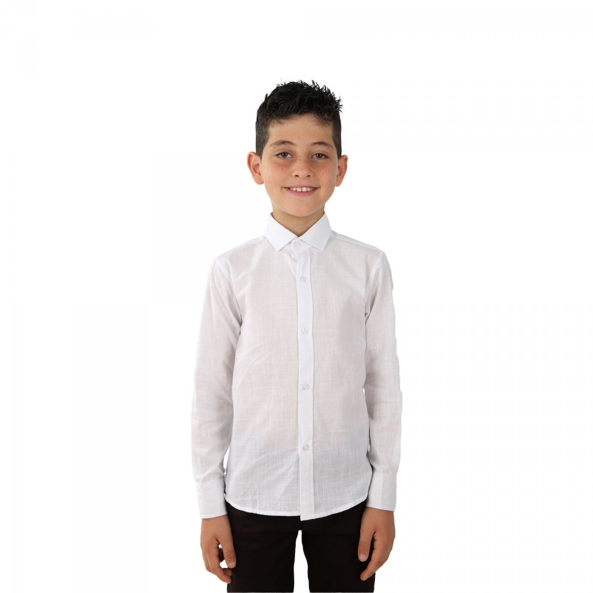 Boys White Linen Shirts, Kids Linen Roll Up Sleeve Shirts, Boy White Linen Shirt