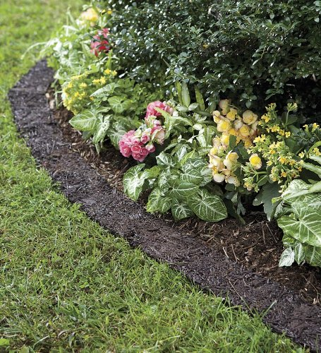 Plow & Hearth 55632 Recycled Rubber Permanent Garden Mulch Border, 120 L x 4.50 - Mat Recycled Fiber