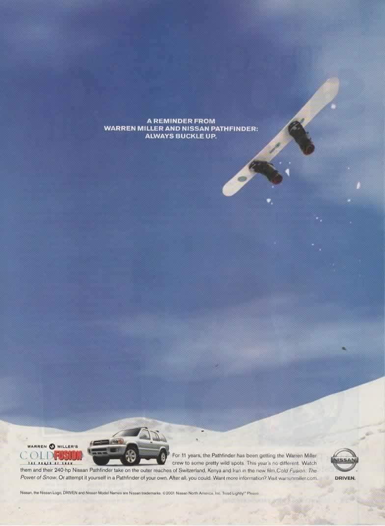 magazine print ad 2002 nissan pathfinder suv 3 5 l v6 engine a reminder from warren miller and nissan pathfinder at amazon s entertainment collectibles store amazon com