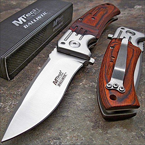 MTECH USA Mtech Ballistic Red Pakkawood Folding Blade Pocket