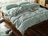 Hughapy Brief Squares Style Checkerboard Pattern Pure Cotton Comfort Bedding Sets(Black,Queen)