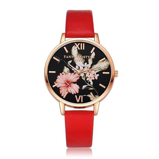 Yivise Reloj de Pulsera con Esfera Redonda y Estampado Floral de Cuarzo Analógico con Banda de