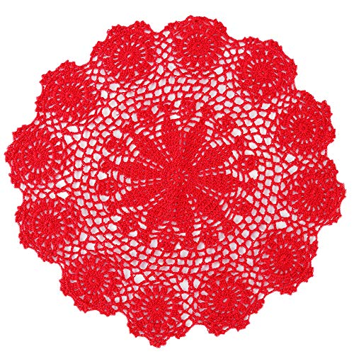 ZORJAR Placemats Handmade Lace Crochet Cotton Table Mats Placemats Coaster15.74Inch(40CM, - Red Doily