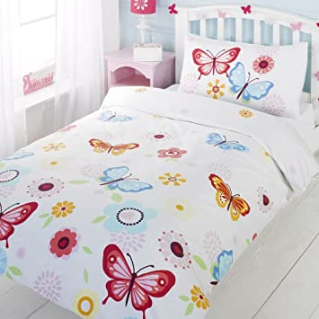 Girls twin floral butterfly white red blue cotton duvet set quilt cover