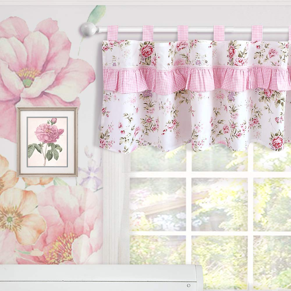 Brandream Window Valance Cotton Curtain for Baby/Toddler/Kid Bedroom Bath Laundry Living Room, Ruffled Floral Printed, Pink by Brandream
