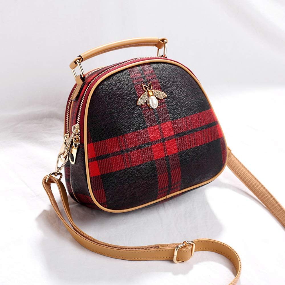 Fashion Casual Handbags Bee Plaid Small Round Bag Simple Personality Versatile Shoulder Slung Female Bag, Blue, One Size CATS