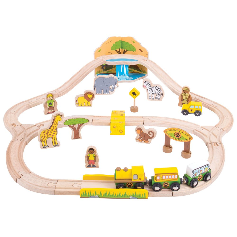Bigjigs Rail Safari Train Set 38 Play Pieces