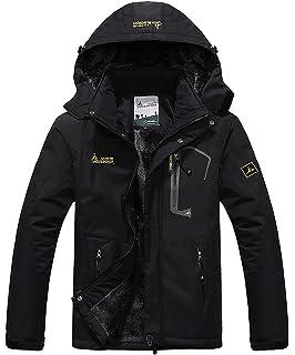 93315fae07a donhobo Men s Fleece Jacket Winter Waterproof Warm Ski Jackets Windproof  Coat with Zip Pockets Hood
