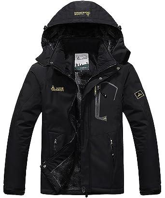 e4372fd78 donhobo Men's Fleece Jacket Winter Waterproof Warm Ski Jackets Windproof  Coat with Zip Pockets Hood