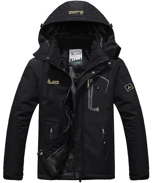 d83f0e6ce60 donhobo Men s Fleece Jacket Winter Waterproof Warm Ski Jackets Windproof  Coat with Zip Pockets Hood(