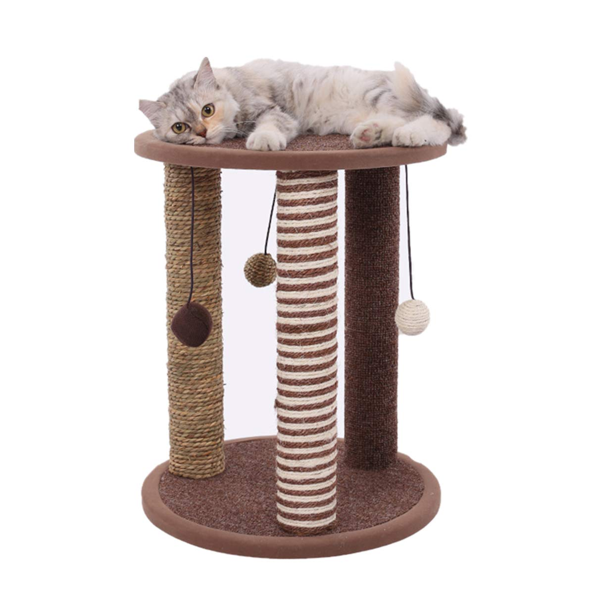 "Cat Activity Tree Sisal Cat Scratching Post Seagrass Cat Furniture 20 "" Tripod Interactive Cat Toy with Hanging Balls for Kittens Pets"