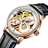 Bestn Wristwatches Women's Skeleton Lovely Style Rose Golden Four-Leaf Clover Stainless Watch