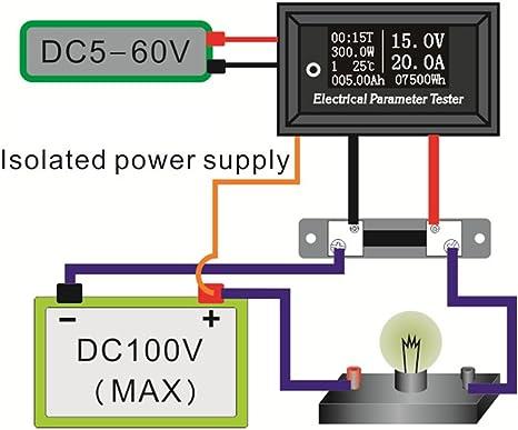Topker 100v 100a 7in1 Multifunktions Tester Mit 100a Shunt 100a Multifunktions Spannung Strom Zeit Temperatur Kapazität Voltmeter Amperemeter Stromzähler Küche Haushalt