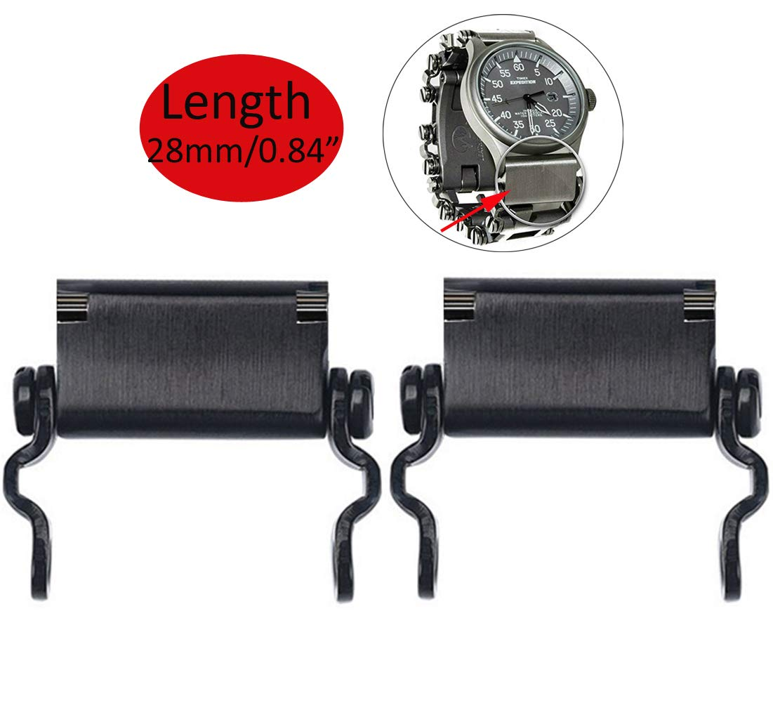 CyberDyer Watch Adapter - Compatible with Different Watch Lug Width - Not Included Multitool Bracelet (Black Lug Only - 28mm)