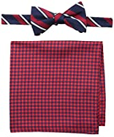 Tommy Hilfiger Men's Candy Stripe and Gingham Pre-Tied Bow Tie and Pocket Square Set