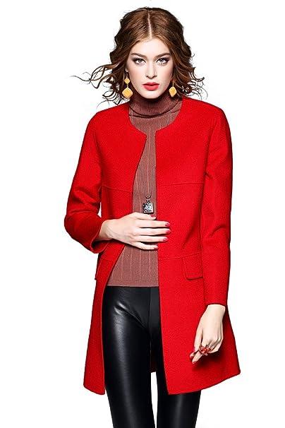 Orifashion - Abrigo - Gabardina - Manga Larga - para mujer rojo rosso 40: Amazon.es: Ropa y accesorios