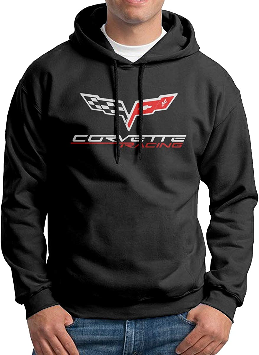 Droiramie Mens with Corvette Apparel Racing Logo Design Hoodie