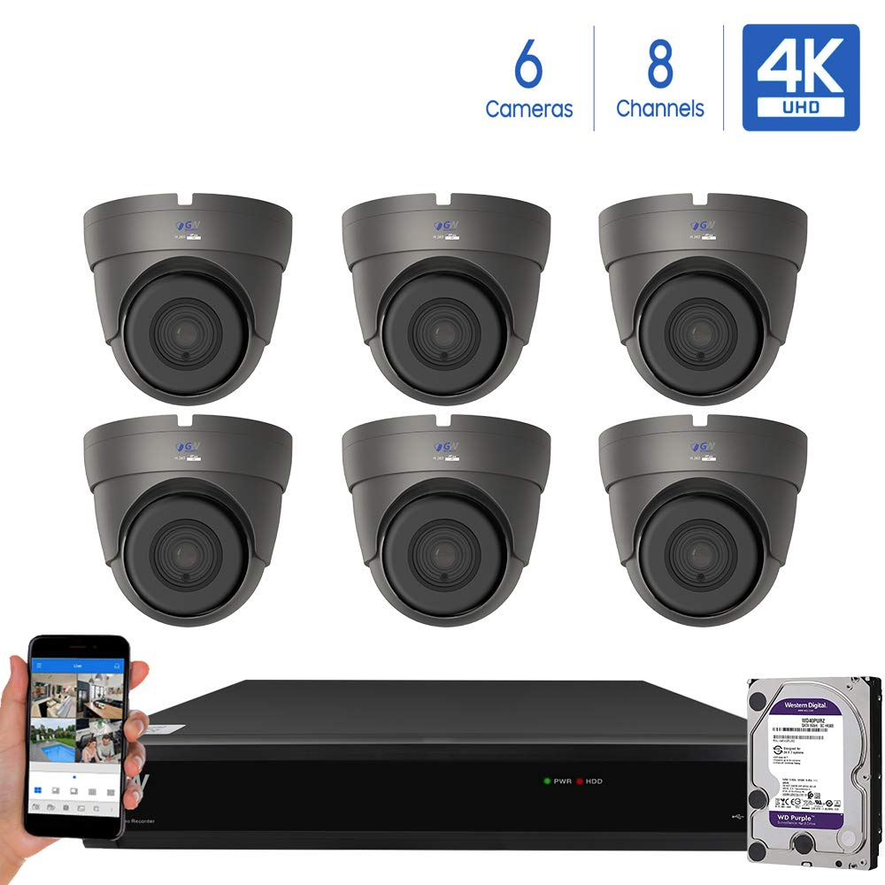 GW Security Cameras System 8CH 3840×2160 HD-TVI 4K CCTV DVR Recorder 2TB HDD with 6 Weatherproof 3840TVL 8.0MP 100ft Night Vision UltraHD 4K Dome Surveillance Cameras, Email Alert with Snapshot