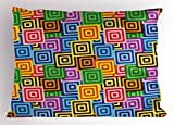 Ambesonne Modern Decor Pillow Sham, Ethnic Africa Tribal Geometric Mosaic Like Design Colorful Vivid Lines Artwork, Decorative Standard Queen Size Printed Pillowcase, 30 X 20 inches, Multicolor